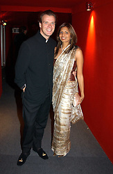 "JOEL CADBURY and DIVIA LALVANI at the 10th annual British Red Cross London Ball.  This years ball theme was Indian based - ""Yaksha - Yakshi: Doorkeepers to the Divine"" and was held at The Room, Upper Ground, London on 1st December 2004.  Proceeds from the ball will aid vital humanitarian work, including HIV/AIDS projects that the Red Cross supports in the UK and overseas.<br />