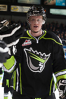 KELOWNA, CANADA -FEBRUARY 7: Brett Pollock #39 of the Edmonton Oil Kings celebrates a goal against the Kelowna Rockets on February 7, 2014 at Prospera Place in Kelowna, British Columbia, Canada.   (Photo by Marissa Baecker/Getty Images)  *** Local Caption *** Brett Pollock;