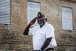 Parade  Grand Marshall Albert A. Mercer.  Veteran's Day Parade and Program at the Frankliin Delano Roosevelt Memorial Park in Charlotte Amalie.  St. Thomas.  11 November 2013.  © Aisha-Zakiya Boyd