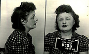 Prostitutes And Madams: Mugshots From When Montreal Was Vice Central<br /> <br /> Montreal, Canada, 1949. Le Devoir publishes a series of articles decrying lax policing and the spread of organized crime in the city. Written by campaigning lawyer Pacifique 'Pax' Plante (1907 – 1976) and journalist Gérard Filion, the polemics vow to expose and root out corrupt officials.<br /> <br /> With Jean Drapeau, Plante takes part in the Caron Inquiry, which leads to the arrest of several police officers. Caron JA's Commission of Inquiry into Public Morality began on September 11, 1950, and ended on April 2, 1953, after holding 335 meetings and hearing from 373 witnesses. Several police officers are sent to prison.<br /> <br /> During the sessions, hundreds of documents are filed as evidence, including a large amount of photos of places and people related to vice.  photos of brothels, gambling dens and mugshots of people who ran them, often in cahoots with the cops – prostitutes, madams, pimps, racketeers and gamblers.<br /> <br /> Photo shows: Fleurette Dubois, 28 octobre 1942 – arrested for running a brothel at 1225 Bullion.<br /> ©Archives de la Ville de Montréal/Exclusivepix Media