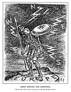 "Adolf Defying the Lightning. ""All the same I don't like it - it seems to come from all sides at once."" (Hitler stands on a small rock of Europe and cowers behind his Nazi shield amid lightening from the West, North and East)"