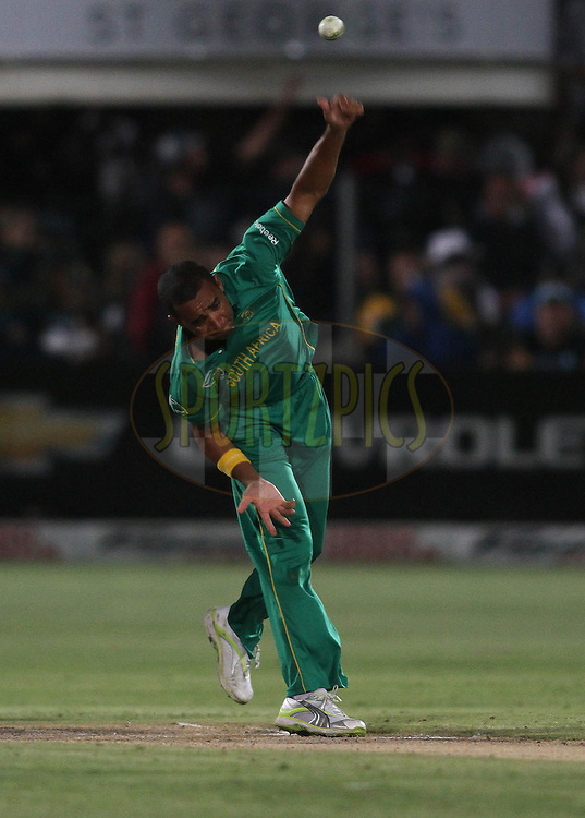 Robin Peterson of South Africa sends down a deliveryduring the 4th ODI between South Africa and India held at St Georges Park in Port Elizabeth, Eastern Cape, South Africa on the 21st January 2011..Photo by Shaun Roy/BCCI/SPORTZPICS