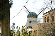 """Israel, Jerusalem, """"New City"""" The windmill at Yemin Moshe, first Jewish residence built outside Old City walls is named after Sir Moses Montefiore who established the neighborhood. The windmill was erected by Moshe Moses Montefiore in 1857 for grinding grain into flour"""