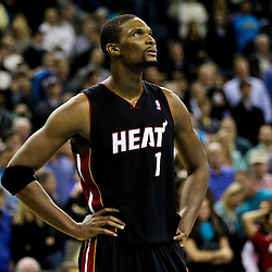 November 5, 2010; New Orleans, LA, USA; Miami Heat power forward Chris Bosh (1) during the second half against the New Orleans Hornets at the New Orleans Arena. The Hornets defeated the Heat 96-93. Mandatory Credit: Derick E. Hingle
