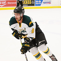 5th year defence man Austin Bourhis (8) of the Regina Cougars in action during the Men's Hockey Shine On Game on December 2 at Co-operators arena. Credit: Arthur Ward/Arthur Images