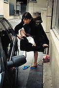 France, Paris, 05-2003..Illegal Chinese Mr Wang, 42, tries out charity hand-outs in Paris. He is part of a new wave of immigrants from China?s northeast, home to millions of former cradle-to-grave factory workers laid off by closures. ..
