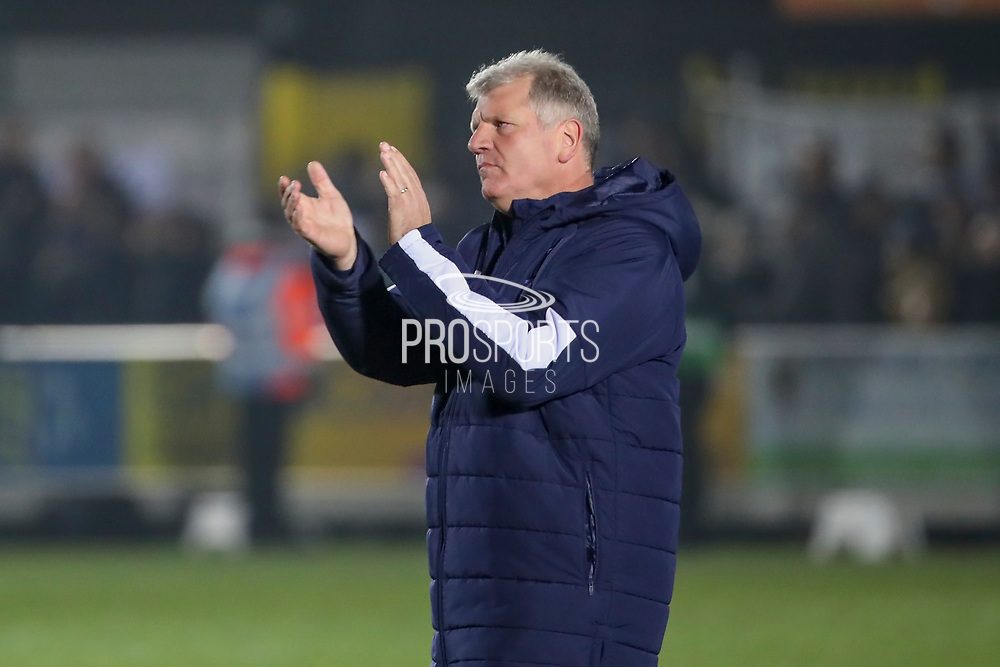 AFC Wimbledon manager Glyn Hodges clapping during the EFL Sky Bet League 1 match between AFC Wimbledon and Southend United at the Cherry Red Records Stadium, Kingston, England on 1 January 2020.