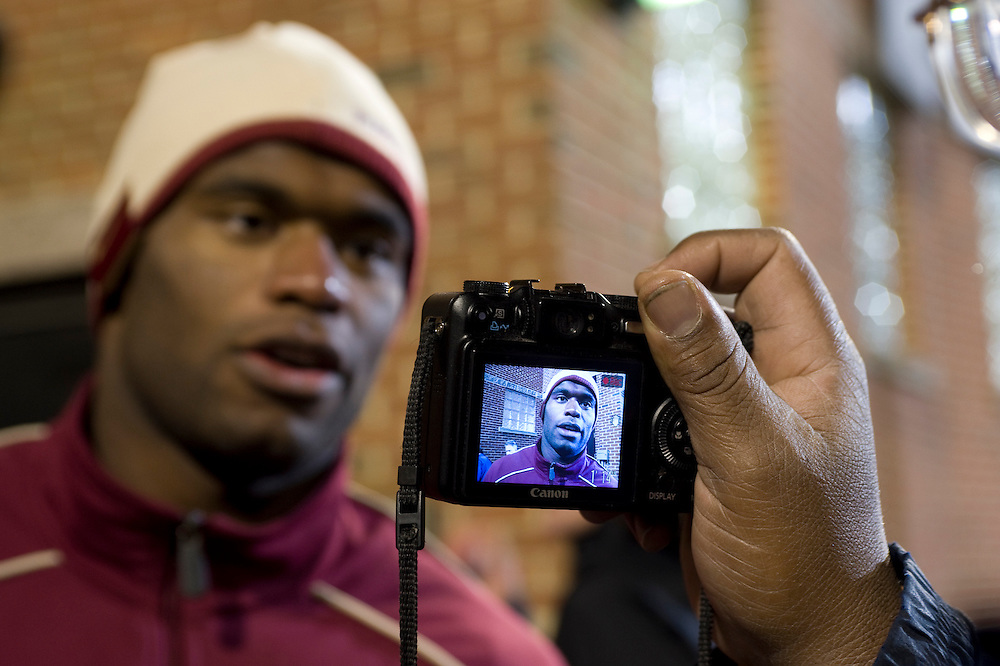 College Park, Maryland - Florida State University football player Myron Rolle is interviewed by media after an away game at College Park, Maryland, the day that Myron learned he won a Rhodes Scholarship..Photo by Susana Raab