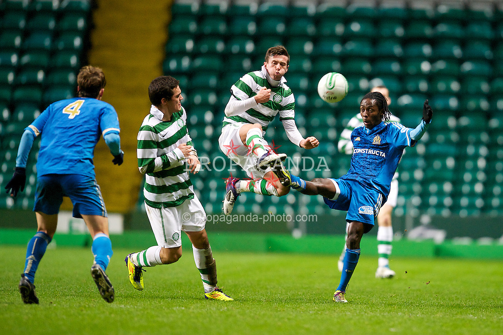 GLASGOW, SCOTLAND - Wednesday, December 7, 2011: Olympique de Marseille's Ricardo Charles in action against Glasgow Celtic's Paul George during the NextGen Series Group 1 match at Celtic Park. (Pic by David Rawcliffe/Propaganda)