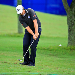 May 2, 2016; Avondale, LA, USA; Brian Stuard chips onto the green at the eighth hole during the continuation of the third round of the 2016 Zurich Classic of New Orleans at TPC Louisiana. The tournament has been shortened to 54 holes due to weather delays throughout the week. Mandatory Credit: Derick E. Hingle-USA TODAY Sports