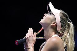 October 21, 2018 - Singapore, Singapore - Elina Svitolina of the Ukraine celebrates her win during the match between Petra Kvitova and Elina Svitolina on day 1 of the WTA Finals at the Singapore Indoor Stadium. (Credit Image: © Paul Miller/ZUMA Wire)