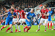 Peterborough United defender and captain Jack Baldwin (6) and Peterborough United striker Jack Marriott (14) try to get behind the Northampton defence during the EFL Sky Bet League 1 match between Peterborough United and Northampton Town at London Road, Peterborough, England on 2 April 2018. Picture by Nigel Cole.