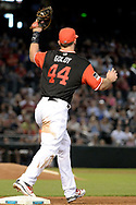 PHOENIX, AZ - AUGUST 27:  Paul Goldschmidt #44 of the Arizona Diamondbacks wearing a nickname-bearing jersey makes the out at first base in the game against the San Francisco Giants at Chase Field on August 27, 2017 in Phoenix, Arizona.  (Photo by Jennifer Stewart/Getty Images)