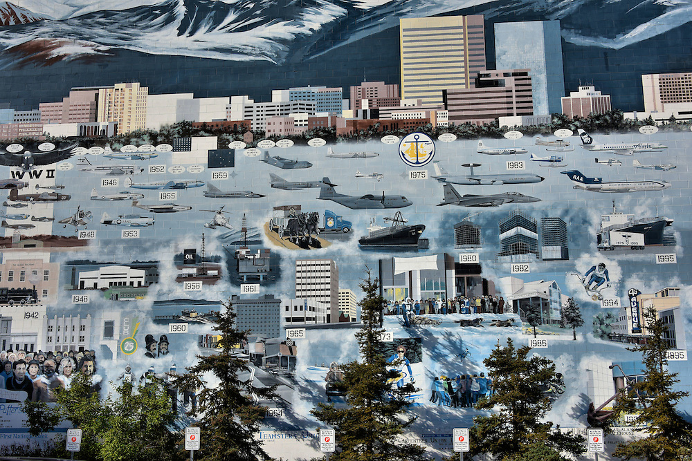 Anchorage History Mural by Bob Patterson in Anchorage, Alaska <br />