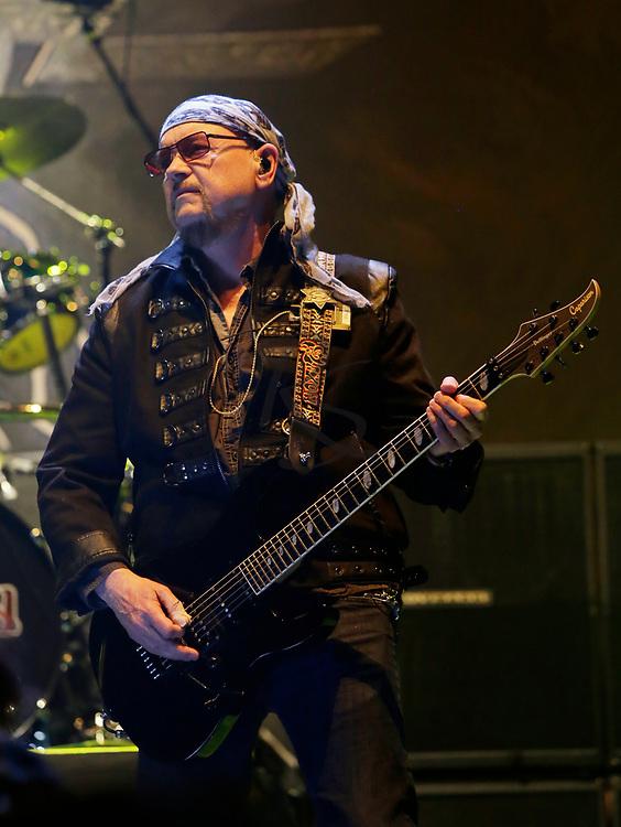 Paul Quinn of Saxon performs on Tuesday, April 24, 2018, in Phoenix, Arizona. (AP Images/Rick Scuteri)
