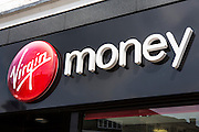 Signage outside a Virgin money high street branch, Enfield, London.