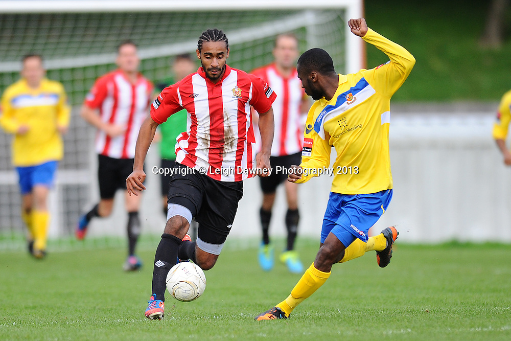 Stefan Payne of AFC Hornchurch drives forward with the ball. AFC Hornchurch v Wealdstone at The Stadium, Bridge Avenue, Upminster, Essex. FA Cup 3rd Qualifying Round. 12th October 2013. © Leigh Dawney Photography 2013.