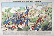French conquest of Algeria. French troops fighting their way through the Teniah Pass, 12 May 1840. France Military Infantry Smallarms Rifle North Africa Colonialism.