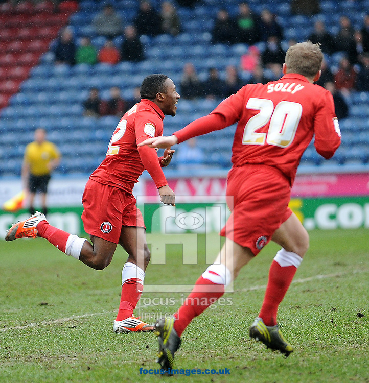Picture by Graham Crowther/Focus Images Ltd +44 7763 140036.09/03/2013.Callum Harriot of Charlton Athletic celebrates his opening goal against Huddersfield during the npower Championship match at the John Smiths Stadium, Huddersfield.
