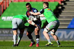 Nathan Hughes of Bristol Bears is challenged by Mark Lambert of Harlequins and Alex Dombrandt of Harlequins - Mandatory by-line: Ryan Hiscott/JMP - 08/03/2020 - RUGBY - Ashton Gate - Bristol, England - Bristol Bears v Harlequins - Gallagher Premiership Rugby