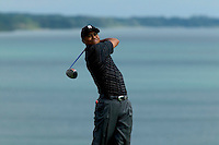Tiger Woods, watches his drive from hole sixteen at day two of practices of the PGA championship at Whistling Straits Tuesday Aug. 10, 2004 Haven Wi.     Photo Darren Hauck.................................