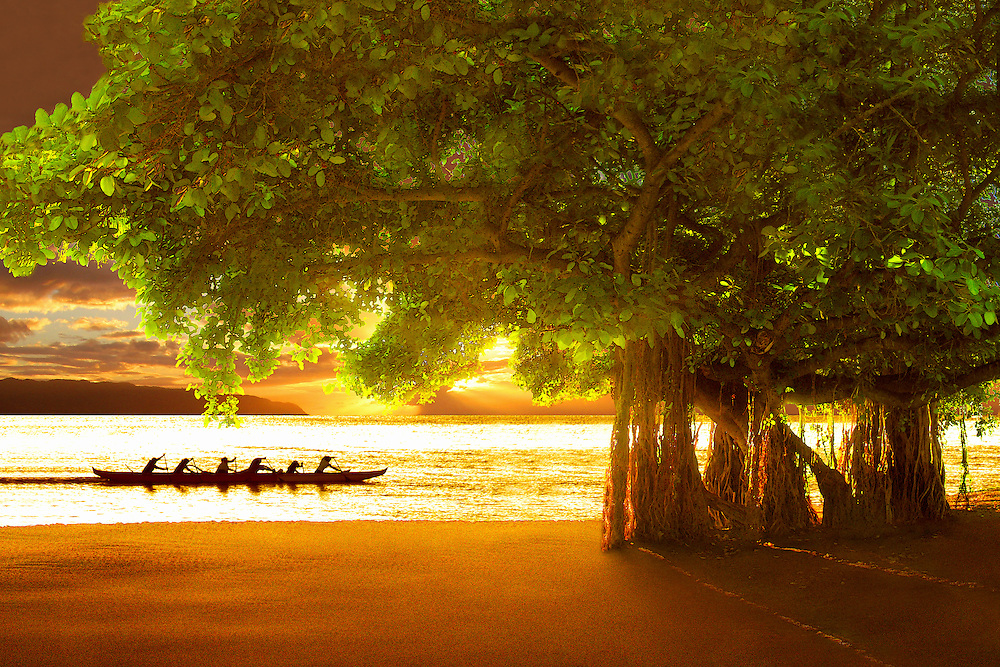 Photographic art of an outrigger canoe crew at sunset off an idyllic Hawaiian beach