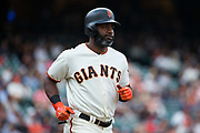 San Francisco Giants center fielder Denard Span (2) runs out a hit against the Colorado Rockies at AT&T Park in San Francisco, California, on September 20, 2017. (Stan Olszewski/Special to S.F. Examiner)