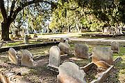 Tombstones in historic Magnolia Cemetery in Charleston, South Carolina.