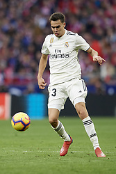 February 9, 2019 - Madrid, Madrid, Spain - Sergio Reguilon of Real Madrid controls the ball during the week 23 of La Liga between Atletico Madrid and Real Madrid at Wanda Metropolitano stadium on February 09 2019, in Madrid, Spain. (Credit Image: © Jose Breton/NurPhoto via ZUMA Press)