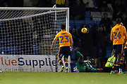 Oldham Athletic goalkeper Johny Placide (19) after tipping the ball onto the bar during the EFL Sky Bet League 1 match between Gillingham and Oldham Athletic at the MEMS Priestfield Stadium, Gillingham, England on 25 November 2017. Photo by Martin Cole.
