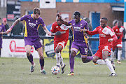 Harry Pell, Ibrahim Kargbo, Amari Morgan-Smith and Ian Gayle during the Vanarama National League match between Welling United and Cheltenham Town at Park View Road, Welling, United Kingdom on 5 March 2016. Photo by Antony Thompson.