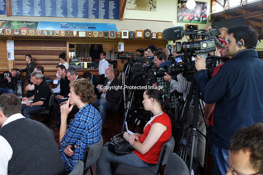 Media scrum, All Blacks coach Graham Henry announces his future plans as he steps down from the head coaching position. Auckland University Rugby Clubrooms, Auckland. 1 November 2011. Photo: William Booth/photosport.co.nz