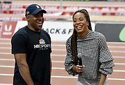 Mar 3, 3017; Albuquerque, NM, USA; Ato Boldon (left) and Sanya Richards-Ross react during the USA Indoor Track and Field championships at the Albuquerque Convention Center.