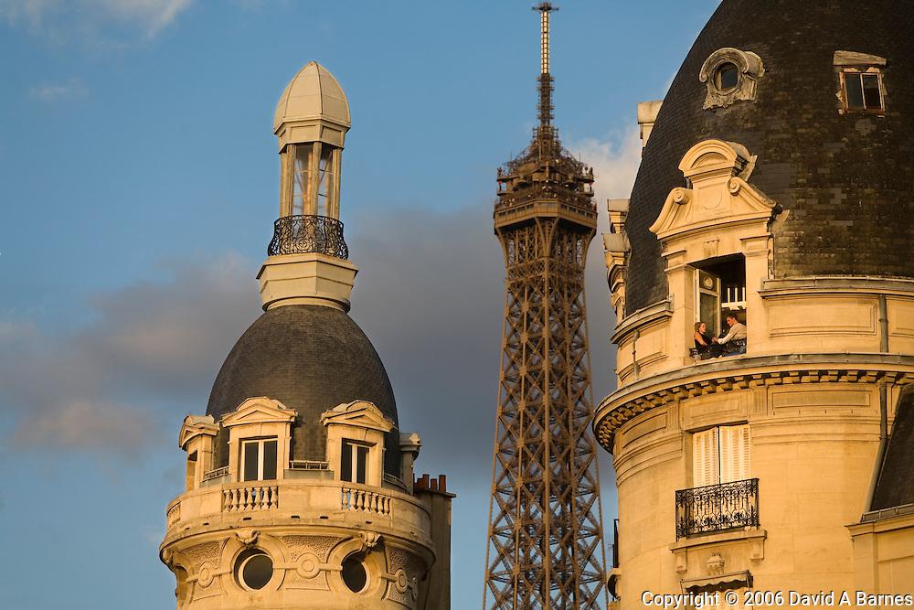 Eiffel Tower and apartment building, Paris, France
