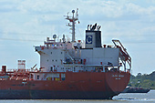 Images of Stainless Steel Tanker MT 'Celsius Mexico' Sailing Downstream in the Houston Ship Channel