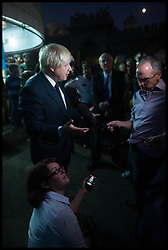 London Mayor Boris Johnson is interviewed by the BBC as he tours a market in Hyderabad, on the Third day of a six-day tour of India, where he will be trying to persuade Indian businesses to invest in London, Tuesday November 27, 2012. Photo by Andrew Parsons / i-Images