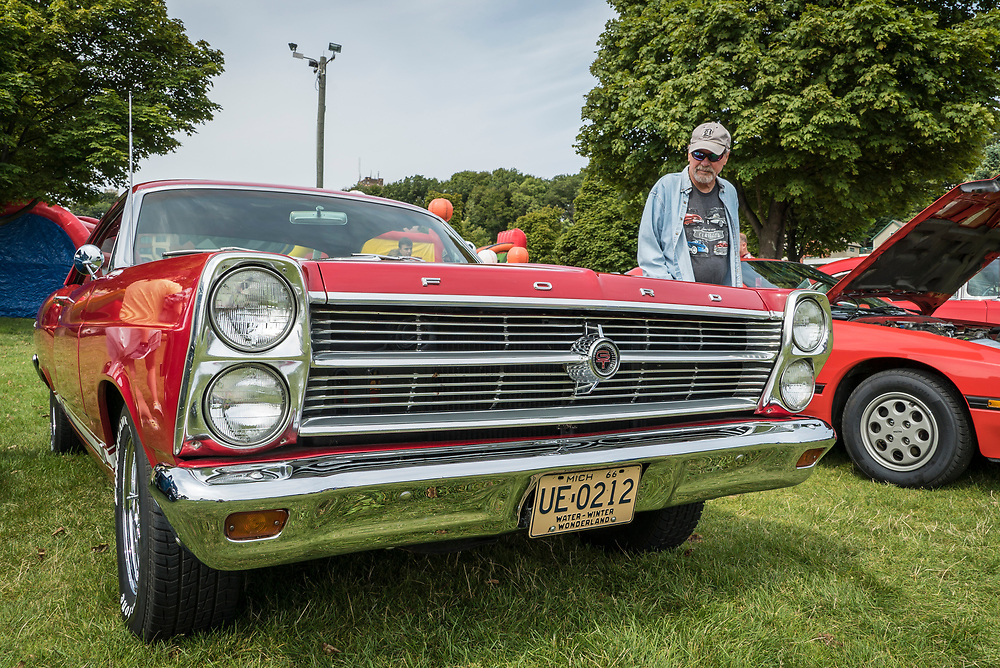 Vintage car show during Harbor Fest in downtown Marquette, Michigan.
