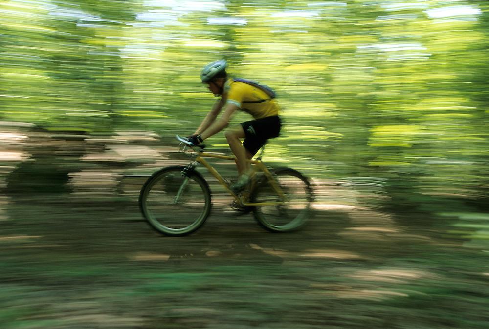 mountain biker riding through the woods