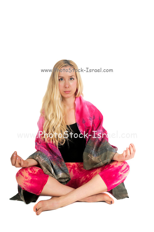 Meditating new age woman on white background