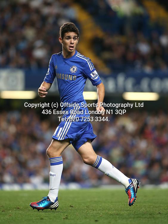 22 August 2012 Premier League football. Chelsea v Reading.<br /> Chelsea substitute Oscar.<br /> Photo: Mark Leech.