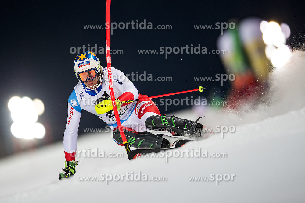 24.01.2017, Planai, Schladming, AUT, FIS Weltcup Ski Alpin, Schladming, Slalom, Herren, 1. Lauf, im Bild Ramon Zenhaeusern (SUI) // Ramon Zenhaeusern of Switzerland in action during his 1st run of men's Slalom of FIS ski alpine world cup at the Planai in Schladming, Austria on 2017/01/24. EXPA Pictures © 2017, PhotoCredit: EXPA/ Johann Groder