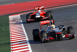 Motorsports / Formula 1: World Championship 2011, Testing in Barcelona, test, 04 Lewis Hamilton (GBR, Vodafone McLaren Mercedes), 24 Timo Glock (GER, Marussia Virgin Racing )