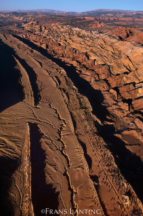 Water Pocket Fold (aerial), Capitol Reef National Park, Utah