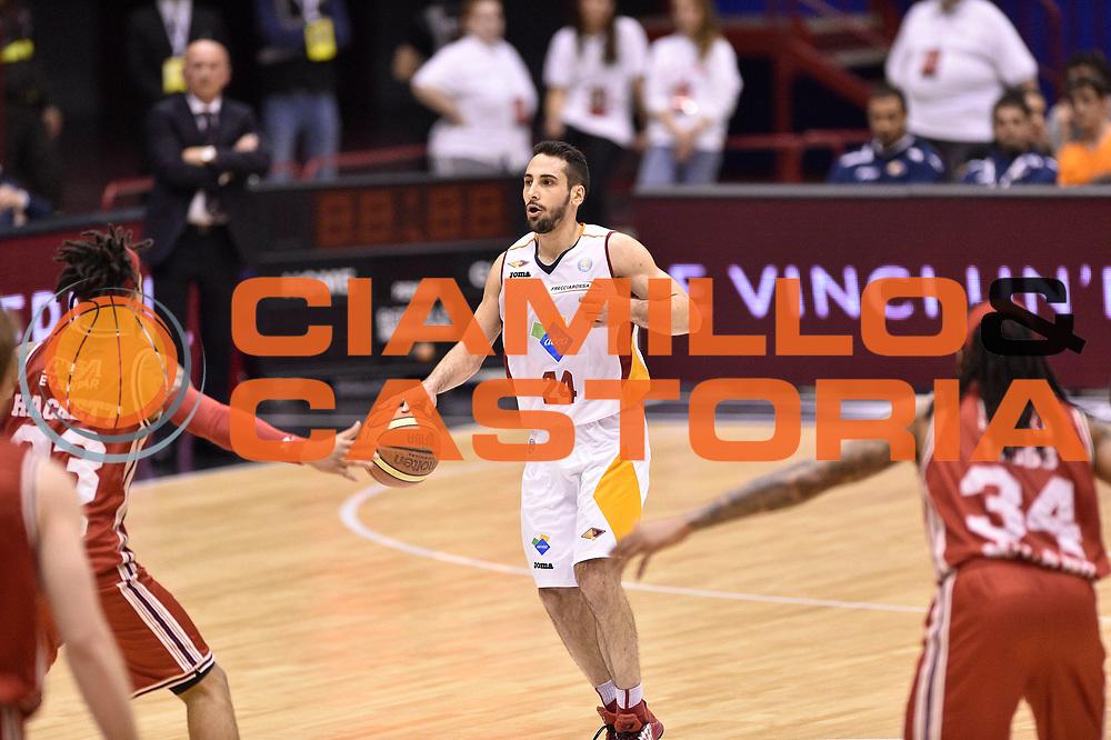 DESCRIZIONE : Milano Lega A 2014-15 <br /> EA7 Olimpia Milano - Acea Virtus Roma <br /> GIOCATORE : Rok Stipcevic<br /> CATEGORIA : palleggio <br /> SQUADRA : Acea Virtus Roma <br /> EVENTO : Campionato Lega A 2014-2015 <br /> GARA : EA7 Olimpia Milano - Acea Virtus Roma<br /> DATA : 12/04/2015<br /> SPORT : Pallacanestro <br /> AUTORE : Agenzia Ciamillo-Castoria/GiulioCiamillo<br /> Galleria : Lega Basket A 2014-2015  <br /> Fotonotizia : Milano Lega A 2014-15 EA7 Olimpia Milano - Acea Virtus Roma