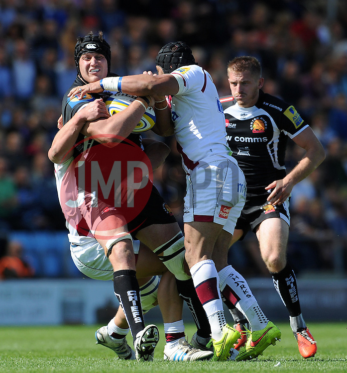 Exeter Chiefs Mitch Lees is tackled by Sale Sharks Sam Tuitupou Photo mandatory by-line: Harry Trump/JMP - Mobile: 07966 386802 - 16/05/15 - SPORT - RUGBY - Aviva Premiership - Exeter Chiefs v Sale Sharks - Sandy Park, Exeter, England.