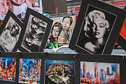 Souvenir postcards on display at a New York City postcard stand