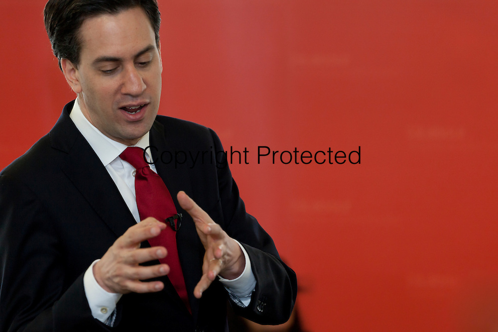Labour Party Leader Ed Milliband speaking at Bradford University, during the Bradford West by election campaign. Candidate Imran Hussain lost on a 36% swing and 10,00 majority to George Galloway and The Respect Party.