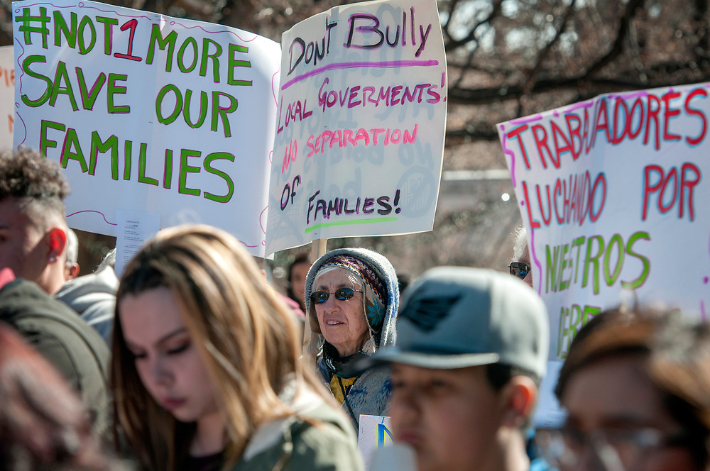 em012918e/a/Judith Chaddick, from Velarde, takes part in an immigrants' rights rally outside the State Capitol in Santa Fe,  Monday  January 29, 2018. Around 150 people attended the rally organized by Somos Un Pueblo Unido, an immigrants' rights group. (Eddie Moore/Albuquerque Journal)