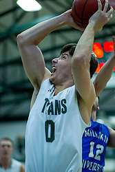 BLOOMINGTON, IL - January 04: Matthew Leritz during a college basketball game between the IWU Titans  and the Millikin Big Blue on January 04 2020 at Shirk Center in Bloomington, IL. (Photo by Alan Look)