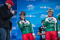May 18, 2018 - South Lake Tahoe, California, U.S - Friday, May 18, 2018.The Mexican National Team (MEX) is introduced by emcee, DAVE TOWLE, prior to Stage 2 of the Amgen Tour of California Women's Race empowered with SRAM, which starts and finishes in South Lake Tahoe, California....BIB, NAME, NAT.141, BONILLA ESCAPITE, MEX.142, MENDIVIL SOTO, MEX.143, ROCHA GUERRERO, MEX.144, SALOMAN VALENZUELA, MEX (Credit Image: © Tracy Barbutes via ZUMA Wire)